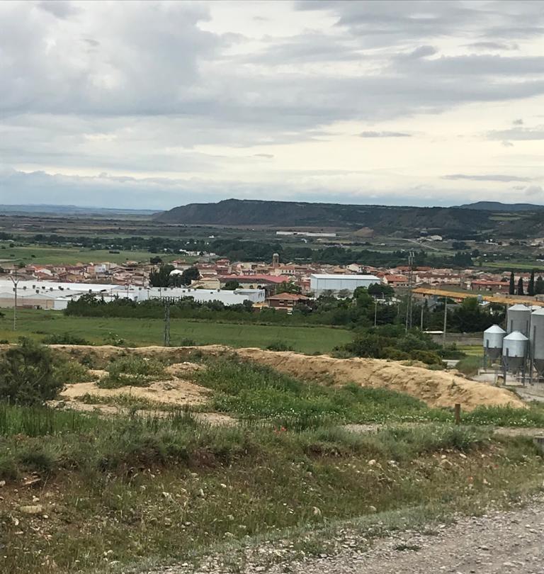 Vista de Carcastillo desde la subida al monte Larrate
