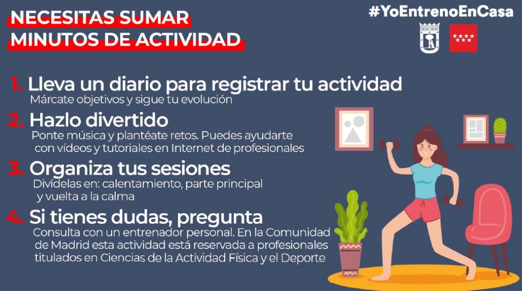 Esta es una de las fotografías que editó la Comunidad de Madrid para incitar a la población a hacer ejercicio, incluso en casa. Forma parte de una gran campaña de la Comunidad que pretende mantener activos a sus ciudadanos.