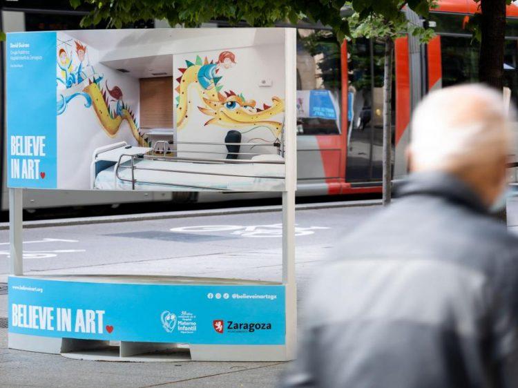 Mupy sobre Believe in Art colocado en el Paseo Independencia de Zaragoza